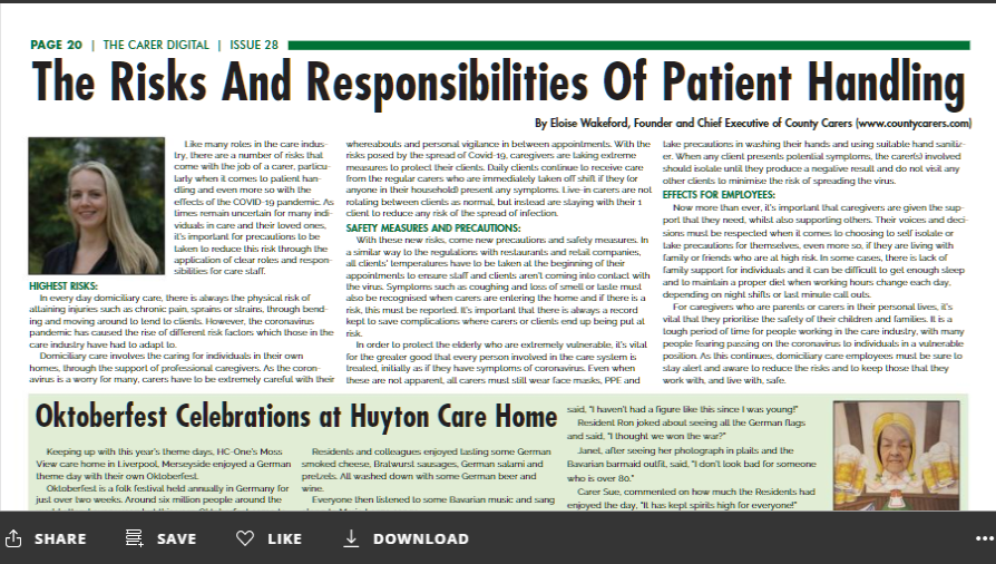 Risks and responsibilities of a domiciliary care provider, during the current Covid-19 pandemic.